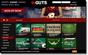 Diverse Range of Real Money Blackjack at Guts Casino